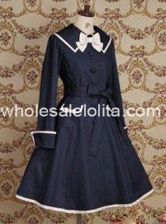 Deep Blue Cotton Sailor Lolita Dress