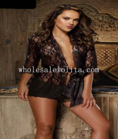 Black Long Sleeve Lace Sexy Chemise