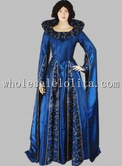 17th Century Baroque Blue Renaissance Queen Costume Dress Gown Theatre Costume