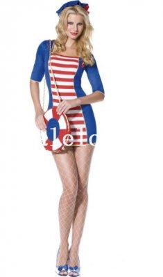 One Piece Female Navy/Sailor Cosplay Dress