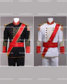 High-end Customized Mens White/Black British Palace Suit Prince Blazer Suits Medieval Mens Period Costume