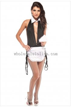 Open Back Sexy Maid Halter Costume