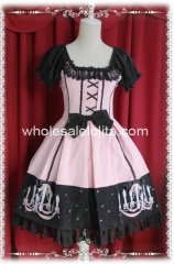 Short Sleeves Pink Candlestick Embroidery OP Lolita Dress