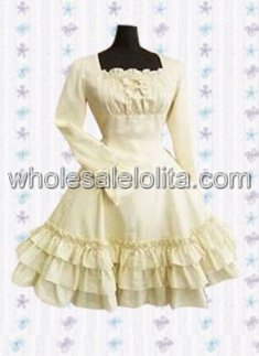 Ivory Long Sleeves Multi layer Cotton Classic Lolita Dress