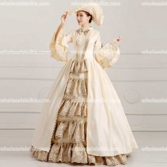 18th Century Rococo Style Marie Antoinette Inspired Prom Dress Wedding Ball Gown Champagne