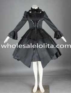 Pure Black Cosplay Dress Long Sleeves Punk Lolita Dress