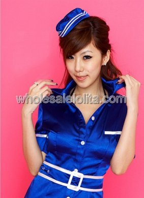 Deep Blue Female Flight Attendant Uniform