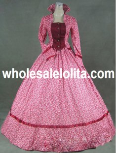 Red Floal Pattern Stand-up Collar Victorian Day Costume Dress