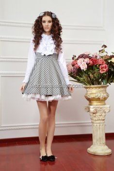 Elegant Black and White Plaid Stitching Lolita Dress