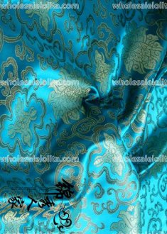 Retro Dark Blue Flower Branch Jacquard Fabric