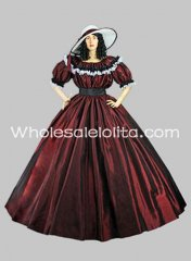 Burgundy Taffeta Short Sleeves Gothic Victorian Ball Gown Civil War Wide Dress