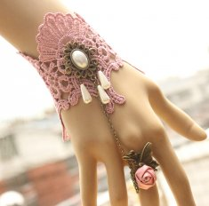 Vintage Lace Bracelet and Ring Pink Gothic Bracelet