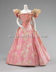 1895 Belle Epoche Era French Culture Silk Victorian Ball Gown