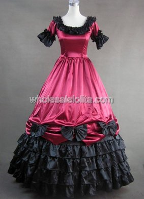 Women Burgundy and Black Civil War Period Southern Belle Wedding Ball Gown Prom Dress