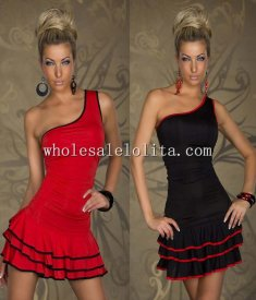 One-Shoulder Falbala Club Dress