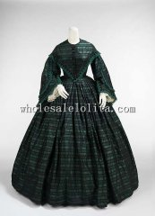 1865 Civil War Victorian Era Walking Dress Theatre Clothing