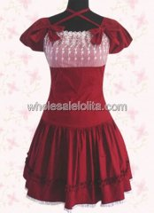 Red Halter Short Sleeves Cotton Sweet Lolita Dress