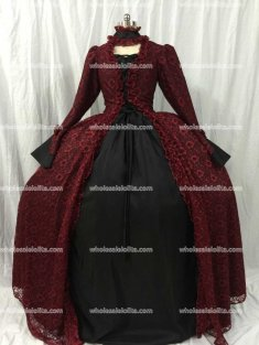 Burgundy and Black Satin Victorian Ball Gown Vintage Dress Holiday Dress