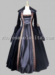 Gothic Black Velvet & Silk-like Halloween Witch Cosplay Costume Dress