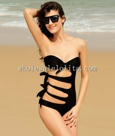Sexy Black Side Cut Out One Piece Beach Bandeau Swearwear