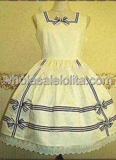 White Bow Sleeveless Cotton Sweet Lolita Dress