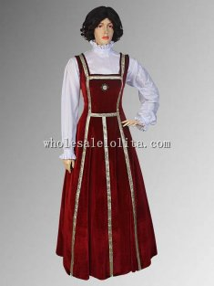 Handmade Burgundy Renaissance Gown Tudor Style Dress Velvet Costume Multiple Colors Available