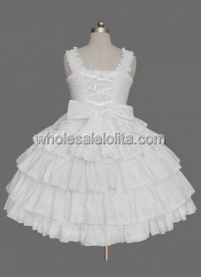White Sleeveless Bow Multi layer Cotton Sweet Lolita Dress