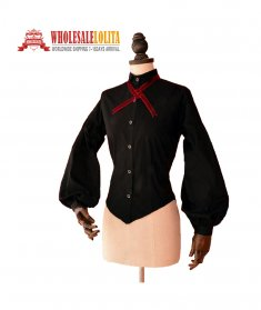 Victorian Edwardian Women Black Vintage Blouse Top Collared Shirt Vampire Reenactment Theater Halloween Costume