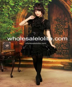 Sweet Black Straps Neck Bow Chiffon Cute Lolita Jumper Skirt