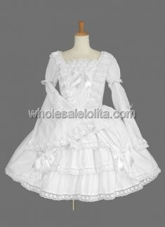 White Bell Sleeves Multilayer Cotton Sweet Lolita Dress