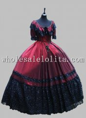 Deluxe Gothic Wine Red and Black Victorian Ball Gown Venice Carnival Costume