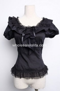 Royal Black Gothic Lolita Blouse