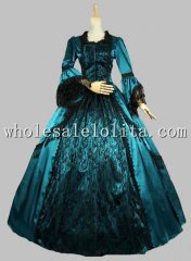 18th Century Greenish Blue Satin Black Lace Overlay Marie Antoinette Ball Gown/Wedding Dress