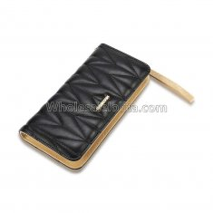 Luxury Designer Famous Brand Carteras Long Clutch Card Holder Ladies Women Wallets Fashion Brief Black Zipper Lady Long PU Purse