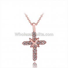 Fashionable Platnium Rose Gold Necklace with Tied Cross Pendant for Versatile Occasions N1