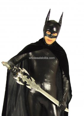 Hot Sale Black Batman Shiny Metalic Costume