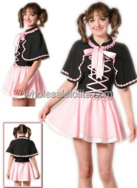 Black and Pink Cotton Mini Lolita Dress with a Wrap