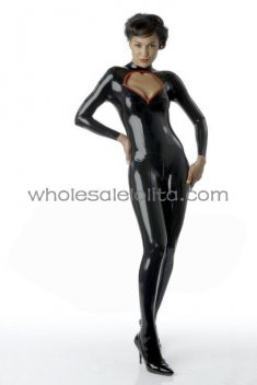 Sexy Black Diamond Cut Out Female Latex Catsuit