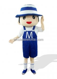 Blue Bonnet Boy Plush Adult Mascot Costume