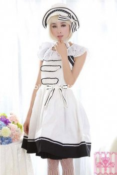 Slim Cotton White Lolita Dress Sailor Style Dress JSK