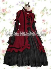 Custom Made Dark Red And Black Cotton Gothic Lolita Dress Costume