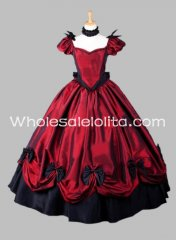Gothic Red Southern Belle Victorian Dress Halloween Masquerade Ball Gown Themed Costume