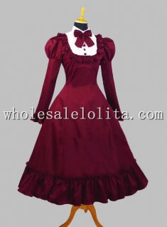 Elegant Wine Red Cotton Gothic Victorian Lolita Dress