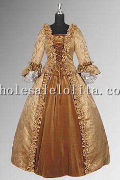17th Century Baroque Renaissance Dress Handmade in Velvet and Baroque Damask