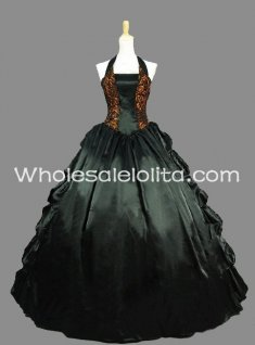 Gothic Black and Gold Halter Sleeveless Victorian Inspired Dress Halloween Masquerade Ball Gown