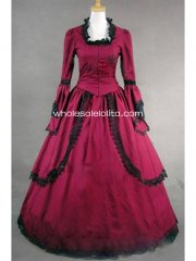 Gothic Red Cotton Trumpet Sleeves Victorian Period Dress Masquerade Ball Themed Costume