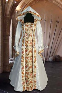 Custom Made White Renaissance Flora Dress with Hood Handmade Renaissance Wedding Medieval Dress