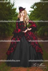 Custom Flocked Marie Antoinette Style Bustled Gown Party Evening Dresses Your Size/Color