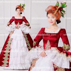 2017 Brand New Red Embroidery Marie Antoinette Dress Civil War Southern Belle Masquerade Ball Gown Reenactment Women Clothing