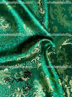 High-End Green Floral Jacquard Silk Fabric